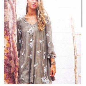 Altar'd State Green Boho Embroidered Dress